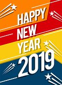 Happy New Year 2019, 2019 Background, Illustration, New Year 2019, Colorfull Numbers, New Year 2019  poster