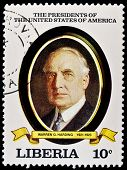 LIBERIA - CIRCA 2000s: A stamp printed in Liberia shows President Warren G. Harding, circa 2000s.