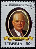 LIBERIA - CIRCA 2000s: A stamp printed in Liberia shows President  Herbert Hoover, circa 2000s.