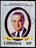 LIBERIA - CIRCA 2000s: A stamp printed in Liberia shows President Lyndon B. Johnson, circa 2000s.