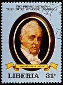 LIBERIA - CIRCA 2000s: A stamp printed in Liberia shows President James Buchanan, circa 2000s.