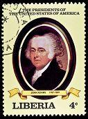 LIBERIA - CIRCA 2000s: A stamp printed in Liberia shows President John Adams, circa 2000s.
