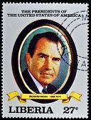 LIBERIA - CIRCA 2000s: A stamp printed in Liberia shows President Richard Nixon, circa 2000s.