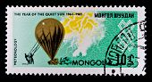 MONGOLIA - CIRCA 1964: A stamp printed in Mongolia shows image of Montgolfier's hot air balloon, circa 1964