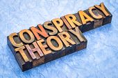conspiracy theory - word abstract in vintage letterpress wood type poster