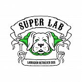 Motorcycle Or Biker Gang Style Illustration Of A Super Yellow Labrador Retriever Dog Wearing A Green poster