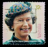UNITED KINGDOM - CIRCA 2000s: An English Used First Class Postage Stamp showing Portrait of Queen Elizabeth circa 2000s