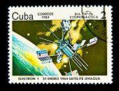 CUBA - CIRCA 1984: A Stamp printed in Cuba shows Satilate Electron-1, circa 1984. Space Series