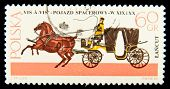 POLAND - CIRCA 1967: a stamp printed in Poland showÃ?? antique horse carriage and a coachman, circa