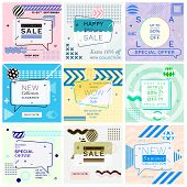 Modern Promotion Glitch Square Web Banners For Social Media Mobile Apps. Elegant Sale And Discount P poster