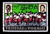TRINIDAD AND TOBAGO - CIRCA 1969: A stamp printed in Trinidad and Tobago shows Calypso King and Road Marko King portraits, circa 1969