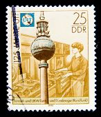 GERMAN DEMOCRATIC REPUBLIC - CIRCA 1990: A stamp printed in GDR (East Germany) shows VHF antenna, ci