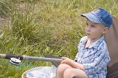 foto of little boy  - boy fishing - JPG