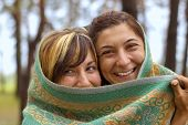 picture of yashmak  - two armenian young women have fun outdoor - JPG