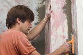 plastering - man makes renovation indoor
