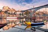 Porto, Portugal. Cityscape Image Of Porto, Portugal With Reflection Of The City In The Douro River D poster