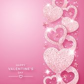 Valentines Day Vertical Background With Shining Pink Hearts And Confetti. Holiday Card Illustration  poster