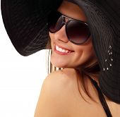 image of panama hat  - summer teen girl cheerful in panama and  sunglasses enjoying isolated on white background - JPG