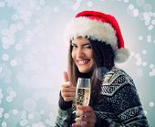 woman christmas young beautiful smiling with santa's hat