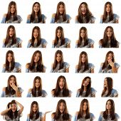 teen girl emotional attractive set make faces isolated on white background