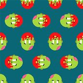Zombie Pixel Art Pattern Seamless. Zombies Head And Brain Background poster