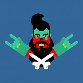 Zombie Hipster With Beard Head Isolated. Zombies Face  poster