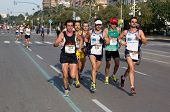 VALENCIA, SPAIN - NOV 27: Runners compete in the 31st Divina Pastora Valencia Marathon on November 2