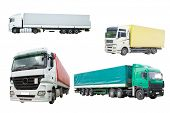 Trucks under thew white background