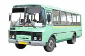 stock photo of motor coach  - old bus under the white background - JPG