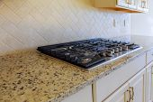 New Gas Stove Close Up Gas Cooker Installation Gas Appliance Repair In New House poster