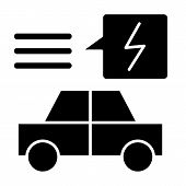 Electric Car Solid Icon. Ecology Automobile Vector Illustration Isolated On White. Ecology Transport poster