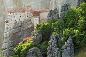 Sunset contre-jour light at Meteora Monasteries, Greece