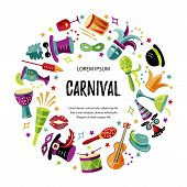 Vector Illustration With Carnival And Celebratory Objects. Template For Carnival, Invitation, Poster poster
