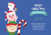 Merry Christmas And Happy New Year Festive Sample Banner Design. Inscription With Snowman, Elf, Pigl poster