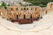 The Odeon of Herodes Atticus , om Acropolis slope, was built it in 161 AD in memory of his wife, Asp