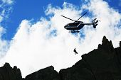 stock photo of rotor plane  - Mountain rescue - JPG