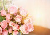 Pink Rose Flower / Soft Color Pink Roses Flower Bouquet On Table Blur Background poster