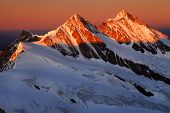 Sunset light over Schreckhorn Peak, Switzerland - UNESCO Heritage