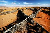 Sand fences in Sahara Desert, Africa