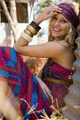 stock photo of gypsy  - beautiful fashion model portrait - JPG