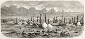Grand Duke Konstantin Nicolayevich of Russia flotilla entering Toulon harbor. Created by Lebreton after Letuaire, published on L'Illustration, Journal Universel, Paris, 1858