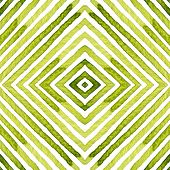 Green Geometric Watercolor. Delicate Seamless Pattern. Hand Drawn Stripes. Brush Texture. Appealing  poster