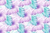 Tropical Pattern. Pink Blue Neon Exotic Summer Flower Vector Background. Beauty Fasion Monstera, Pal poster