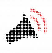 Announce Horn Halftone Dotted Icon. Halftone Pattern Contains Circle Points. Vector Illustration Of  poster