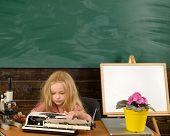 Little Writer Work On Book At Desk. Girl Writer Type On Typewriter. poster