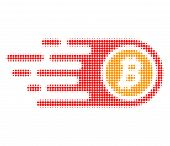 Bitcoin Halftone Dotted Icon With Fast Speed Effect. Vector Illustration Of Bitcoin Designed For Mod poster