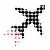 Jet Liner Halftone Dotted Icon With Fast Speed Effect. Vector Illustration Of Jet Liner Designed For poster