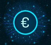 Euro Currency Logo Digital Financing Icon Illuminated Vector. European Money Coin And Dots, Financia poster