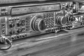 Modern High Frequency Radio Amateur Transceiver In Black And White poster