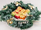 Christmas Sushi. New Year Sushi. Sushi And Christmas Wreath. The Word Sushi From Wooden Beeches. poster